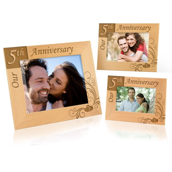 our 5th anniversary wooden picture frame