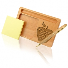 A Teacher Wooden Notepad & Pen Holder