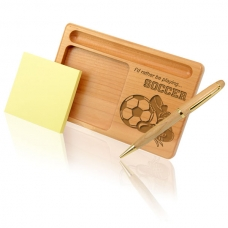 Soccer Wooden Notepad & Pen Holder