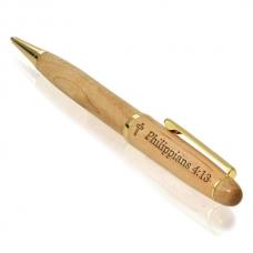 Philippians 4:13 Wooden Pen with Golden Accents
