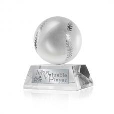 MVP Crystal Baseball Trophy and Keepsake